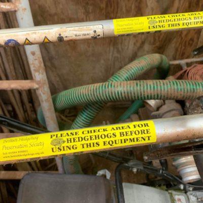 Hazard stickers on equipment