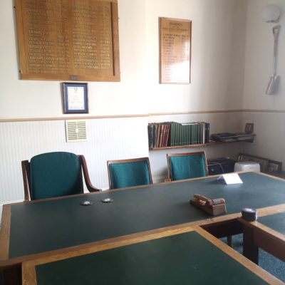 Desks in the council chamber