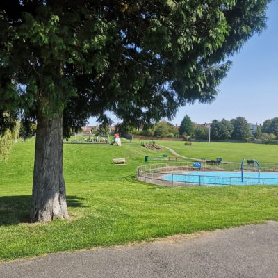 Trees and splash pad at the Mundy playing fields - Click to open full size image