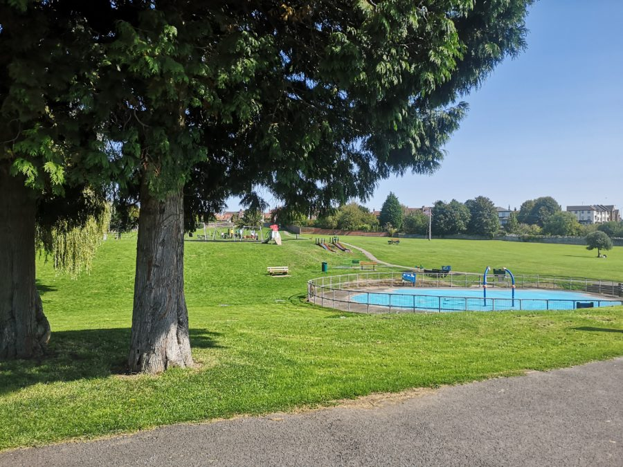 Trees and splash pad at the Mundy playing fields