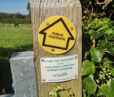Footpath sign on a gatepost 2