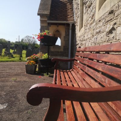 Bench outside chapel - Click to open full size image