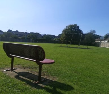 bench and play equipment at Tilting Road playground
