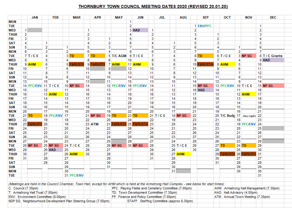 A spreadsheet of meeting dates