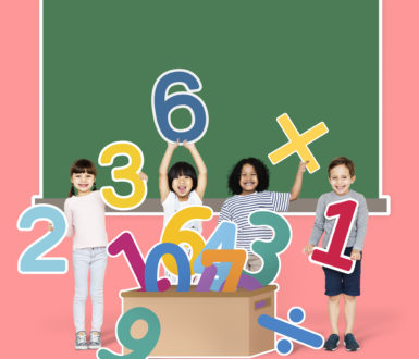 Children learning maths with numbers